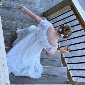 Boho Flower Girl Ivory Off Shoulder Lace Dress